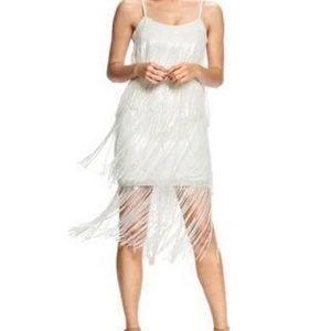 Sequin Fringe Dress in white!